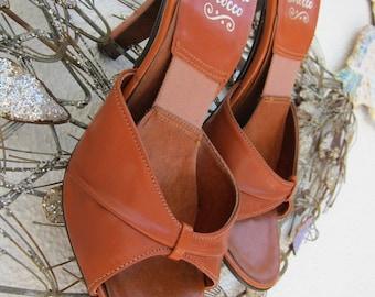 70s Cognac Leather Springolator Pinup Slides Shoes Mules - Vintage Springolators High Heel Heels Slide - Pin Up - Disco Heels - 6