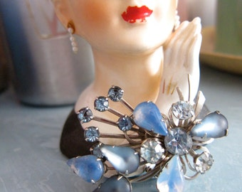50s Vintage Ice Blue Brooch - Moonstone Moonglow Crystals - Floral Spray Pin - Mid Century Costume Jewelry