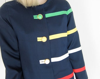 80s Avant Garde Dress I. Magnin Vintage - Navy Blue Silk Tailored Wedge - Asymmetric Green Yellow White Red Stripes Primary Colors Small 4