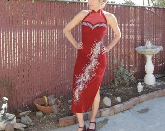 70s Red Velvet Halter Dress Vintage - Valentine Sweetheart - Padparadascha - Party Gown - Sequins Beads - XS