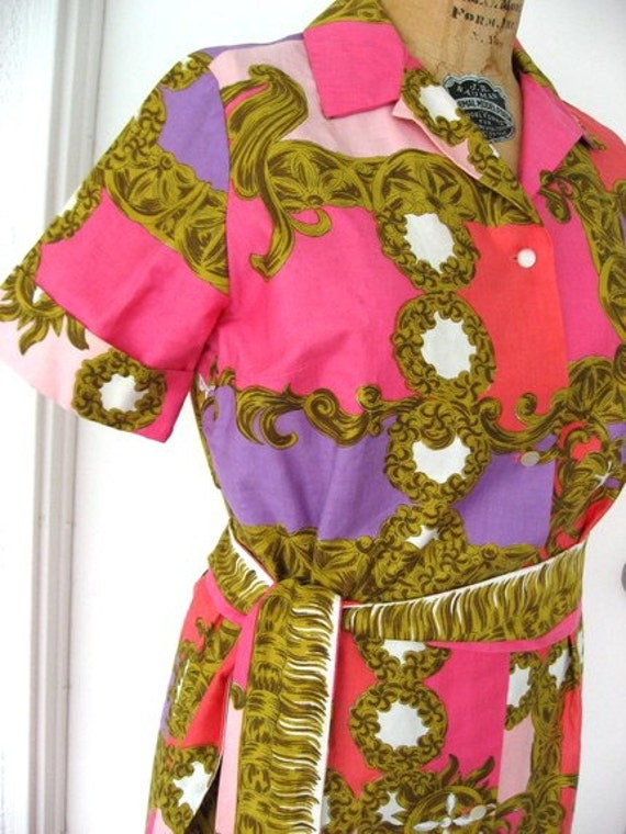 60s Vintage Dress Waltah Clarke's - Pucci-esque - Pink Coral Resort Luxe Fashion - Palm Springs - Beverly Hills - M
