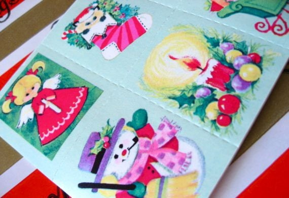 Vintage Christmas Sticker Lot of 60 Stickers - 10 Sheets of 6 Holiday Designs - Real Retro Stickers - Last Ones