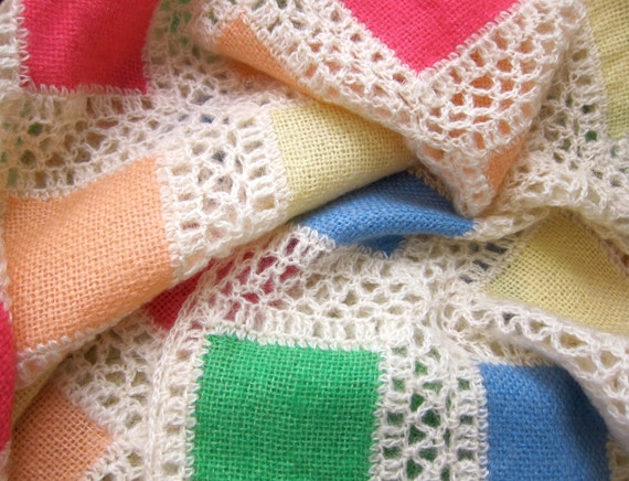 RESERVED Vintage Afghan Blanket Soft Geometry Squares - Cozy Woven Wool - Pastels Crochet Blankie - Shabby Cottage Chic