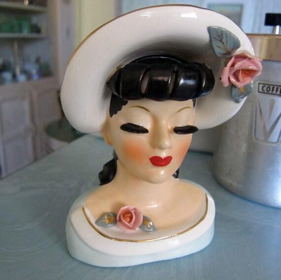 40s Vintage Head Vase Glamorous Lady Antique Rare Headvase