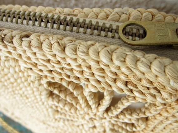 60s Italian Rope Straw Clutch Purse 60s Vintage - Natural - Marcus Brothers - Chain Handle Convertible Bag - Italy