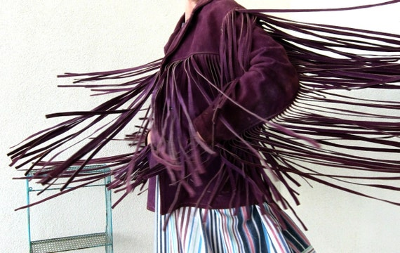 60s Vintage Bold Breed Hippie Freak Jacket Purple Fringe Suede - Easy Rider Motorcycle Sunset Strip Hollywood Rare