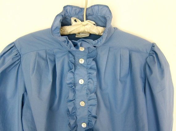 70s Laura Ashley Cornflower Blue Blouse - Puff Sleeve Vintage Shirt - Ruffles - New Wave Romantic - US 14 - UK 16