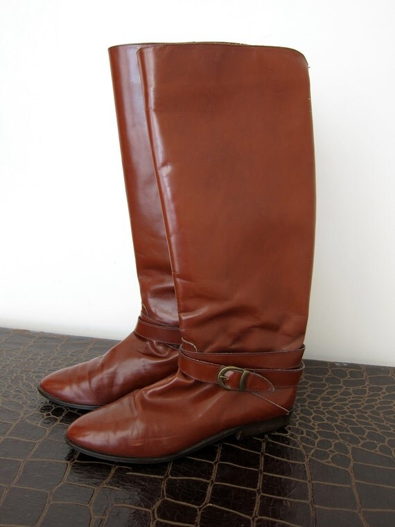 90s Charles David Cognac Leather Tall Riding Boots - Brown - Buckle Straps - Vintage Equestrian Prep - 7.5 B