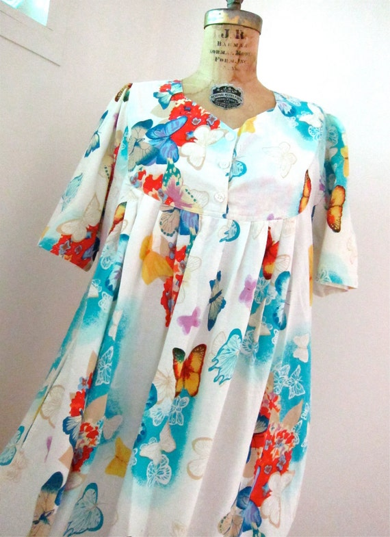 Butterfly Muumuu Mumu Dress 80s Vintage Aqua Persimmon