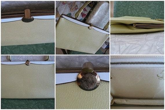 50s L & M Yellow Frame Purse - Lowey Mund - Vintage Vegan Bag - Two Tone Handbag - White Metal Enamel - Brass Hardware