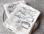 love of cooking - pots and pans diagram dish towels - set of two, blue or black ink