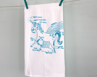 Unicorn Tea Towel - Unicorn Diagram Tea Towel - Kitchen Towel - White Cotton Dish Towel - Housewarming Gift Wedding Gift Dish cloth