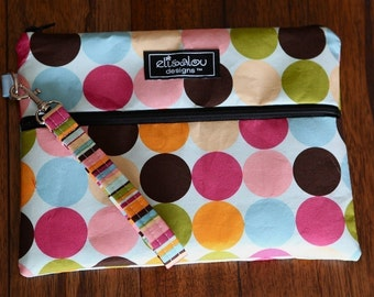Kindle / iPad Mini / Nook, e-Reader / Wristlet / Padded Pouch / Bag- Big Dot