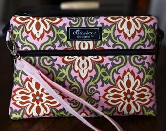 Kindle / iPad Miini / Nook / eReader / Padded Cover / Case / Zipper Wristlet- Pink Temple