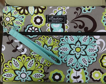 Kindle / iPad mini / Nook / eReader / Padded Cover / Case / Zipper Wristlet- Harvest Bloom