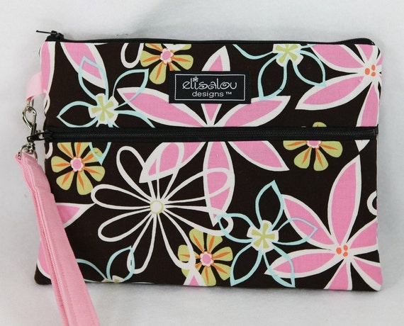 Kindle / iPad Mini  / Nook / eReader / Padded Cover / Case / Zipper Wristlet- Daisy Dreams