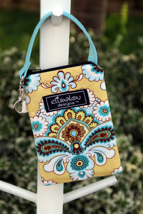 Padded Gadget Pouch iPhone Blackberry iPhone5 Cellphone iPod Touch Bag French Wallpaper Mustard