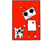 Robot with Dog No. 1, Flat Card 4.25x6 with envelope