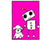 Robot with Poodle, Flat Card 4.25x6 with envelope