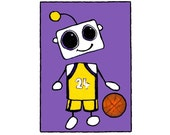 Lakers Fan Robot Flat Card 4.25x6 with envelope