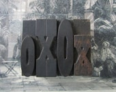 Antique Letterpress Wood Type Printers Block Love Letters X and O as in Hugs and Kisses XO