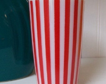 Vintage Hazel Atlas Candy Stripe Red Tumbler