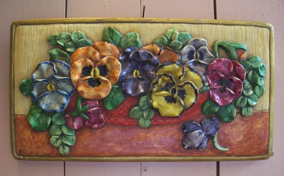 Vintage Plaster of Paris Handpainted Pansy Plaque