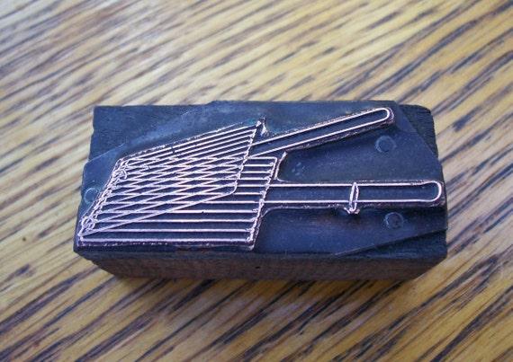 Vintage Letterpress Printers Block Wire Grill