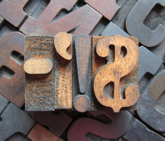 Antique Letterpress Wood Type Printers Block Exclamation Point Dollar Sign Plus