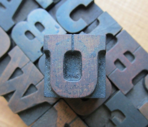 Antique Letterpress Wood Type Printers Block Letter U
