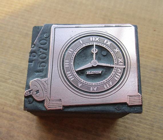 Vintage Letterpress Printers Block Westclox Art Deco Clock