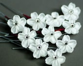 White Sakura Cherry Blossom Kanzashi Silk Flower Hairpin, Swarovski Crystal, Red Cross Charity, Last One