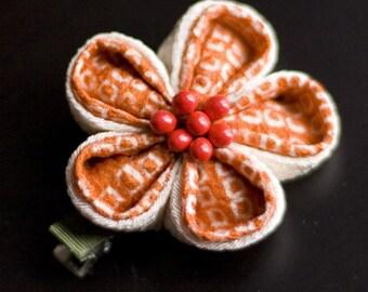 Orange, Ivory Upcycled Silk Tsunami Kanzashi Flower Hairclip CLEARANCE