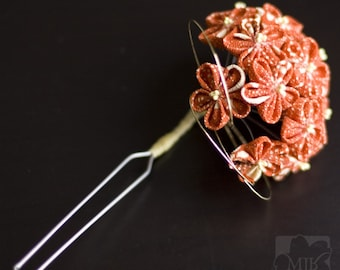 Retro Style Upcycled Orange, Cream Kanzashi Flowers Silk Hairpin OOAK, Wedding, Prom, Homecoming, Vintage Kimono Silk Fabric