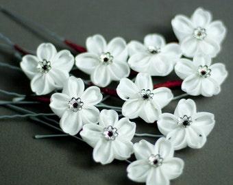 White Sakura Kanzashi Silk Flower Hairpin - Red Cross Charity