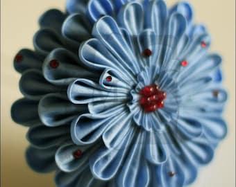 Large Blue Kanzashi Silk Flower Hairpin OOAK - CLEARANCE