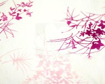 White Floral Summer Japanese Nagoya Obi Sash Belt, Linen, Women, Kimono Hime Style - Gifts for Her