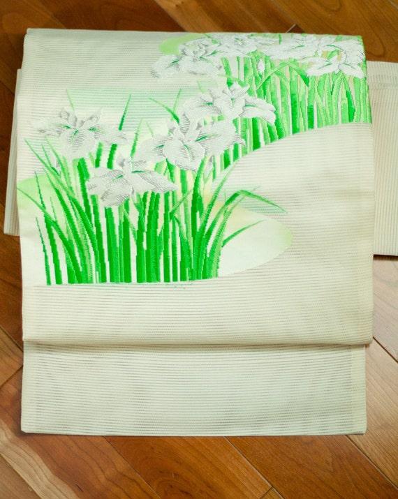 Ivory Ro Silk Iris and Stream Summer Japanese Nagoya Obi