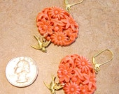 Floral Coral Earrings, with a little bird to boot...
