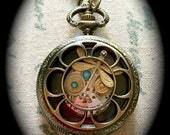 steampunk-inspired medium sized dragonfly pocket watch style locket - made to order