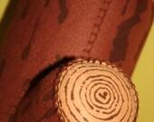 Brown Screen Printed Wool Log Pillow
