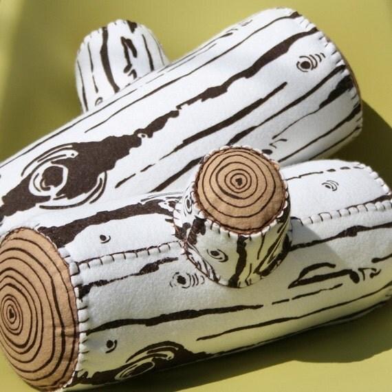 Birch Screen Printed Wool Log Pillow