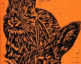 Rabbit Note Cards in Orange