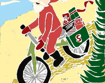 Mountain Biking Santa Christmas Cards -- Box of Six