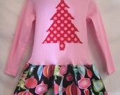 Girls Christmas Dress- polka dot tree applique Holiday Outfit