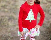 Girls Red Christmas Dress -Applique Holiday Frock with Christmas Tree- Toddler Christmas Outfit- Girls Christmas Dress