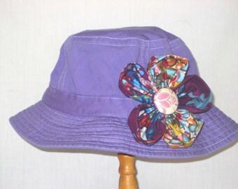 Girl's Flower Sunhat - purple