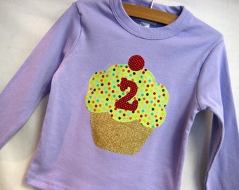 Cupcake Applique Girl's Birthday Shirt- you choose pink or purple and age