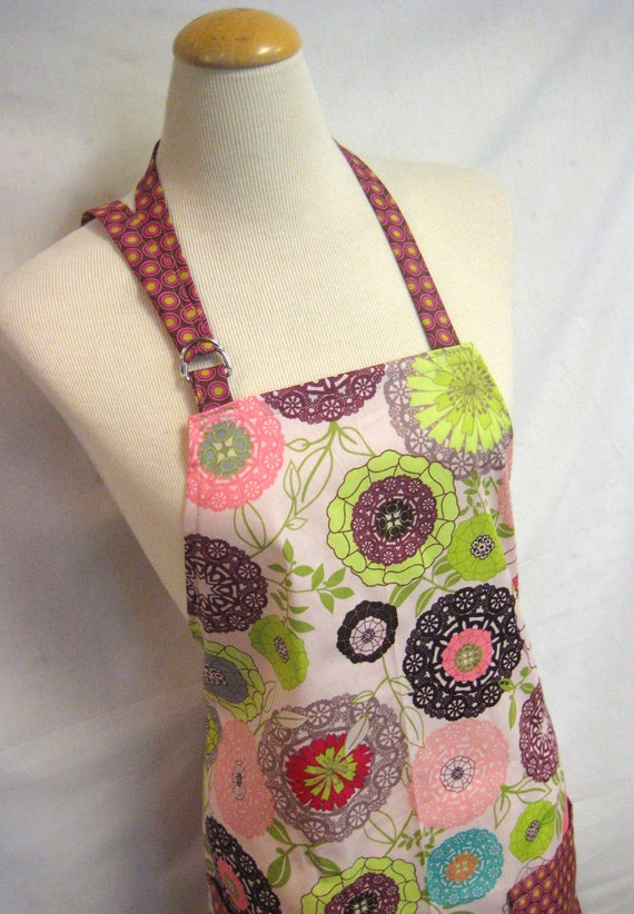 Full Kitchen Apron-Women's Apron in bright blooms modern floral