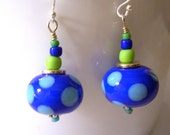 Bright Blue with Turquoise Dots Lampwork Earrings